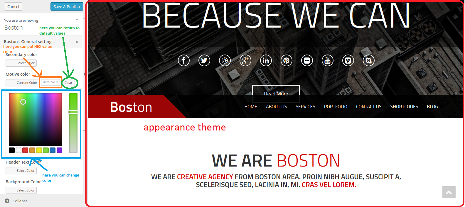 Customize Boston — WordPress