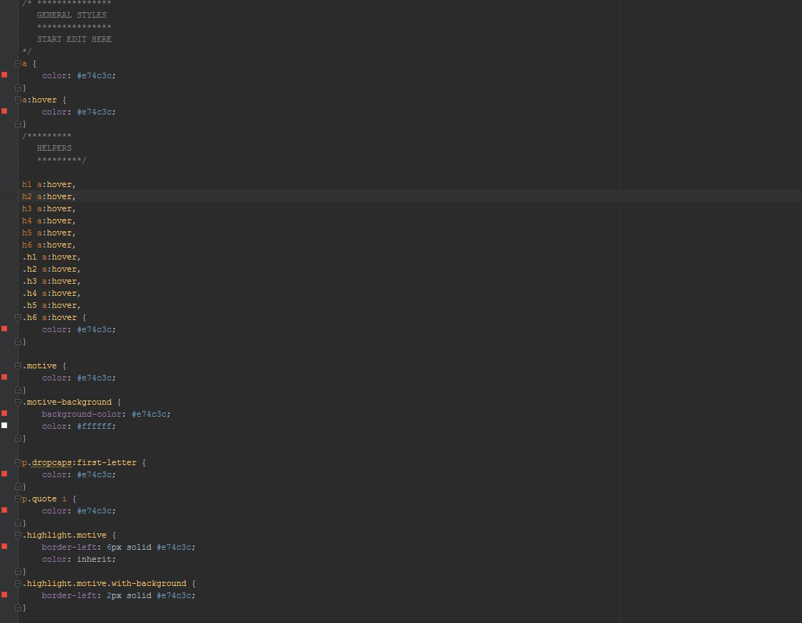 Example of a CSS file
