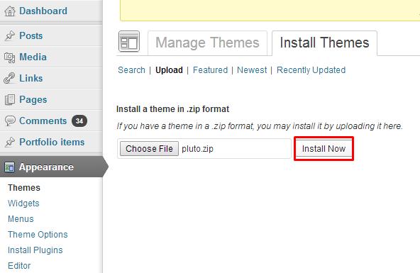 Install theme