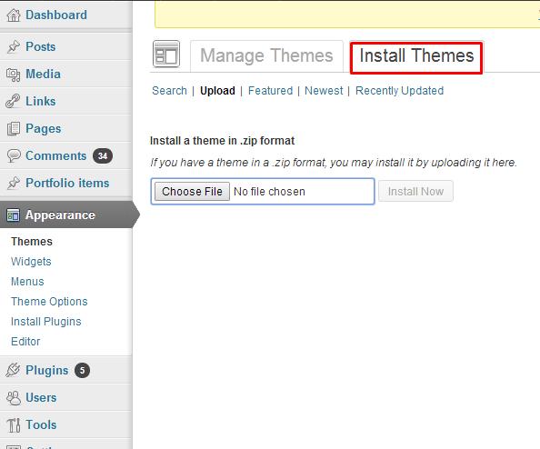 Install Themes tab