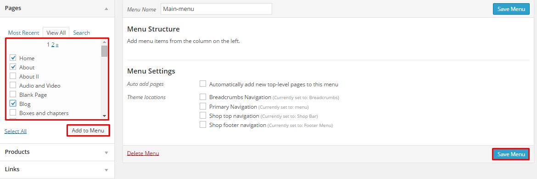 Add Page to menu