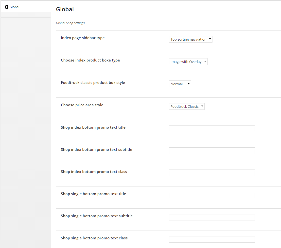 Global Theme Options