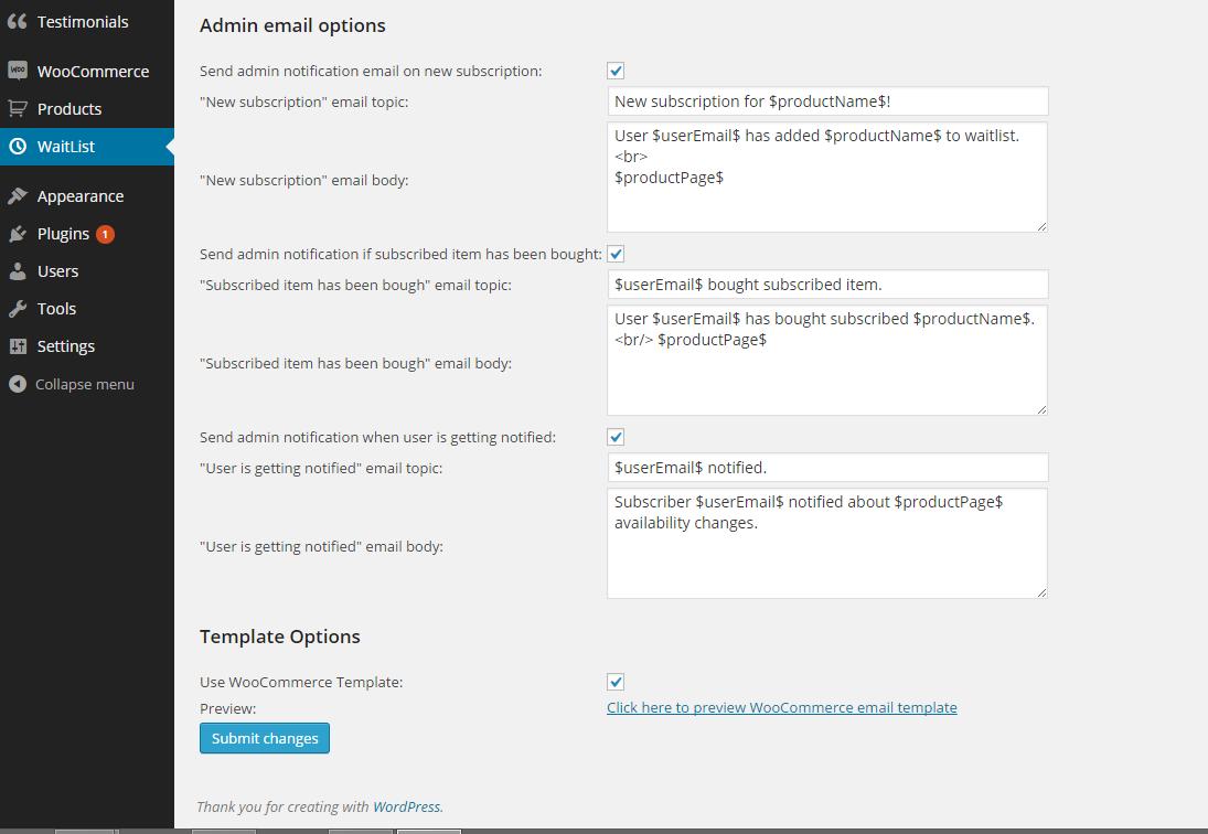 Admin email settings