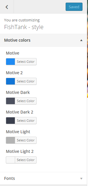 Colors settings