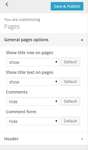 Pages options