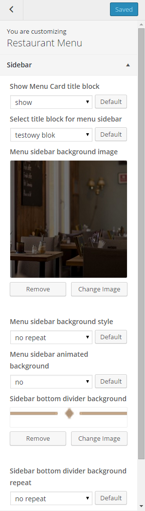 Menu sidebar options