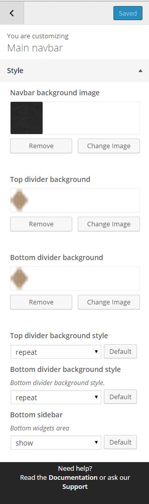 Main navbar style settings