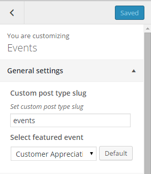 Events general settings