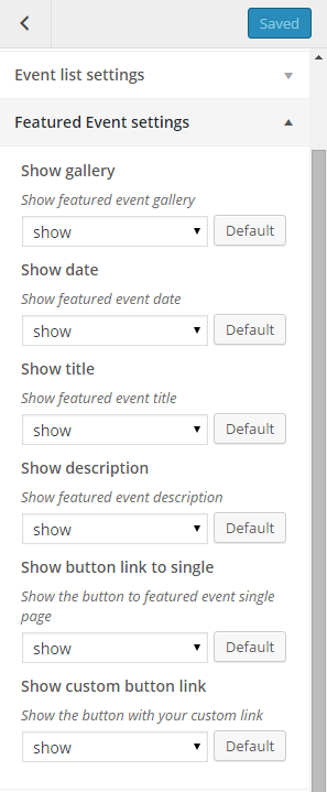 Featured event settings
