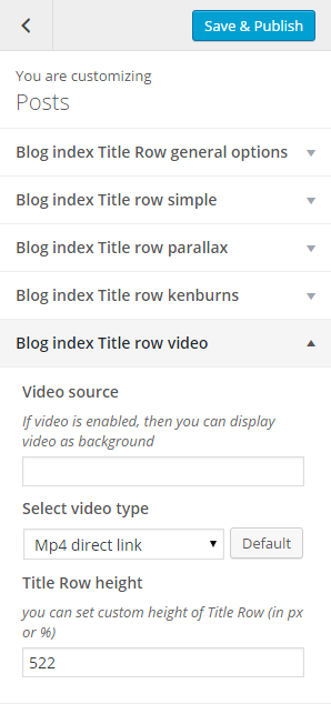 Pages blog index title row video options