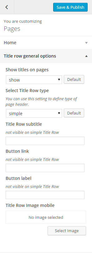 Pages title row general options