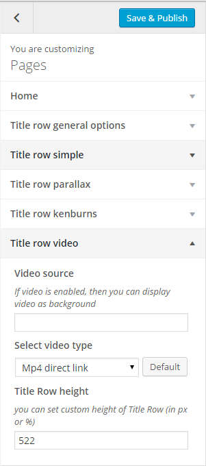 Pages title row video