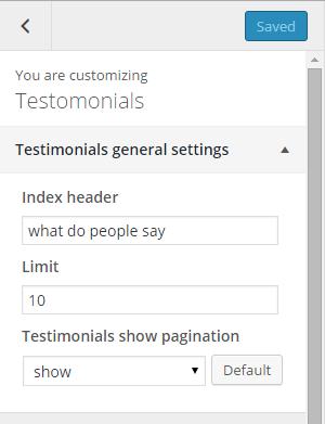 Testimonials general settings