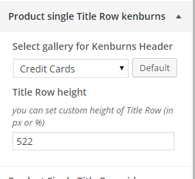 Woocommerce product single title row kenburns