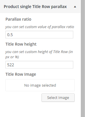 Woocommerce product single title row parallax