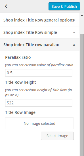 Woocommerce shop index title row parallax