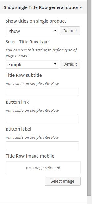 Woocommerce shop single title row general options